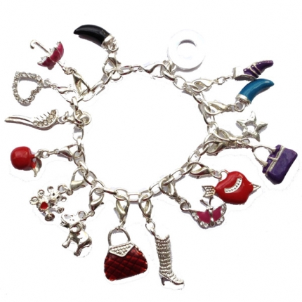 Silver chain with 15 pendants charm bracelet