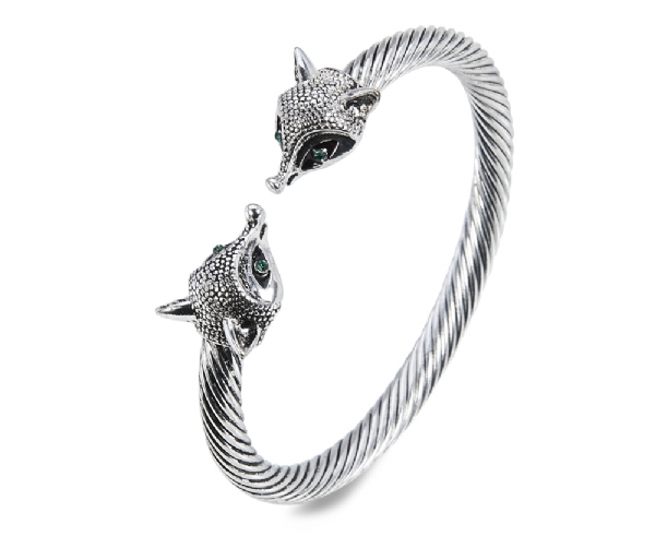 Antique silver fox bangle- Hot Trend!