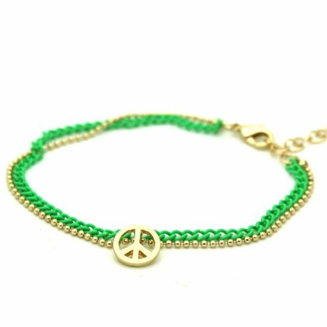 Green & Gold Peace Bracelet