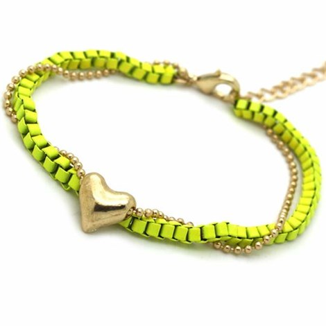 Lime Yellow Chain Linked Heart Bracelet