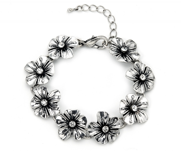 Antique Silver finish flower bracelet