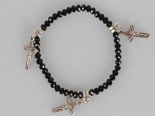 Black Crystal Glass Bead with Three Crosses Stretch Bracelet