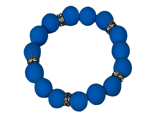 Neon Blue Bead With Crystal Spacer Stretch Bracelet