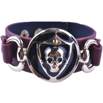 Brown Base Skull Leather Bracelet / Cuff - Unisex.