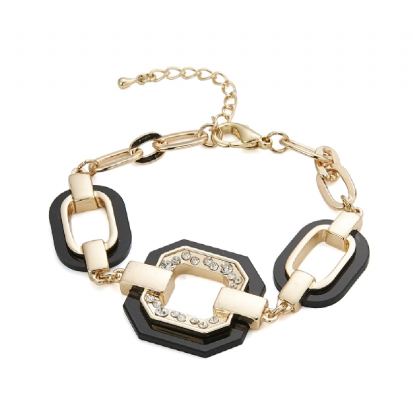 Chunky gold, black and diamante bracelet