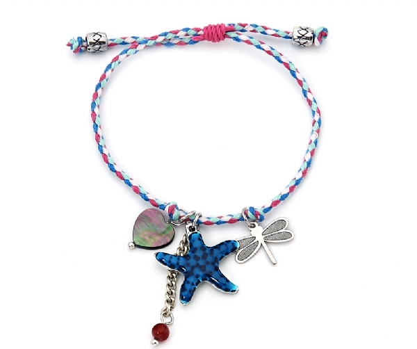 Cute summer bracelet- multi coloured cord and mother of pearl charms
