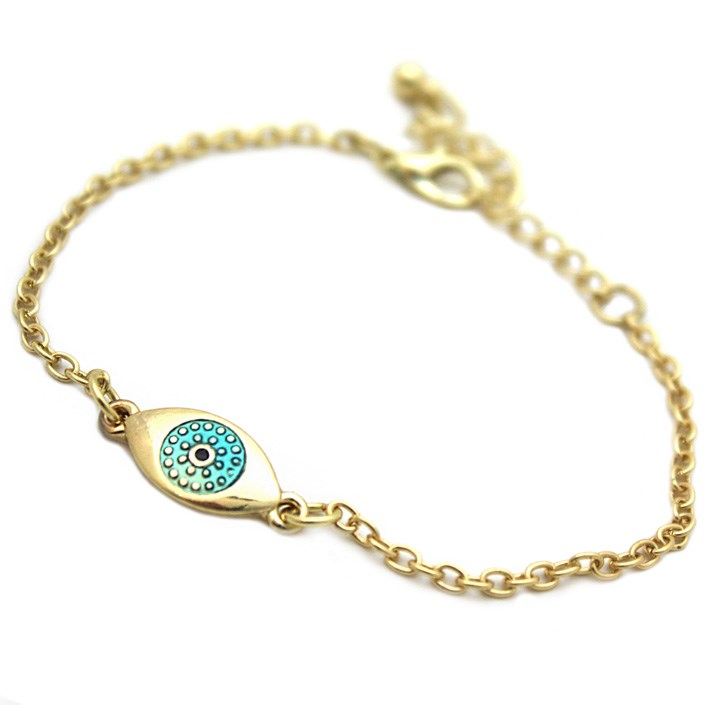Delicate Gold God's Eye Chain Bracelet