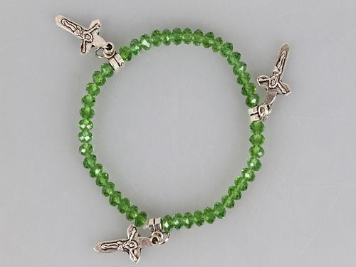 Green Crystal Glass Bead with Three Crosses Stretch Bracelet
