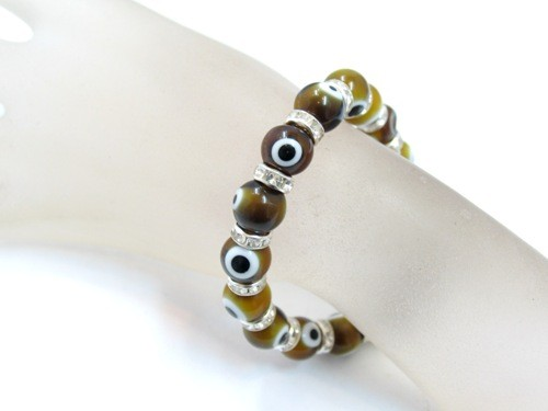 Olive Evil Eye Bead Stretch Bracelet
