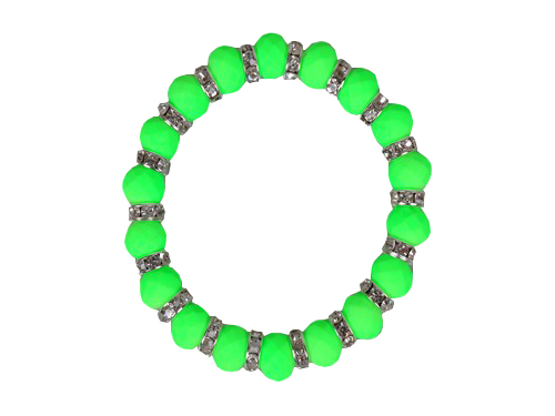 Neon Bead With Crystal Spacer Stretch Bracelet Green Colour