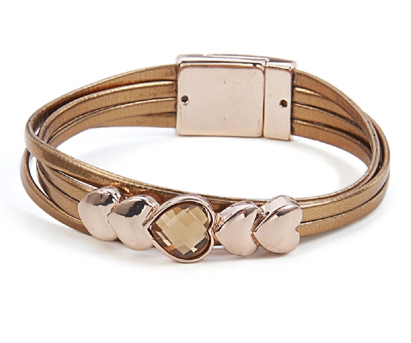 Gold tone metallic heart brown leather effect bracelet