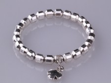 Charm Cross Metal Silver Bead Stretch Bracelet
