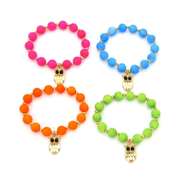 Pack of 4 Neon bead bracelets with owl charm on each - MAKE A STATEMENT!