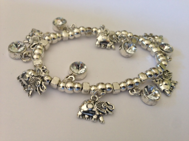 Silver-Tone Elephant and Crystal Charm Stretch Bracelet