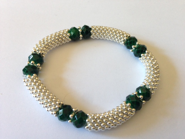 Crystal Glass Bead With Snowflake Spacer Stretch Bracelet Green Colour