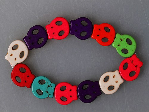 Synthetic Turquoise Skulls Stretch Bracelet Multi-colored
